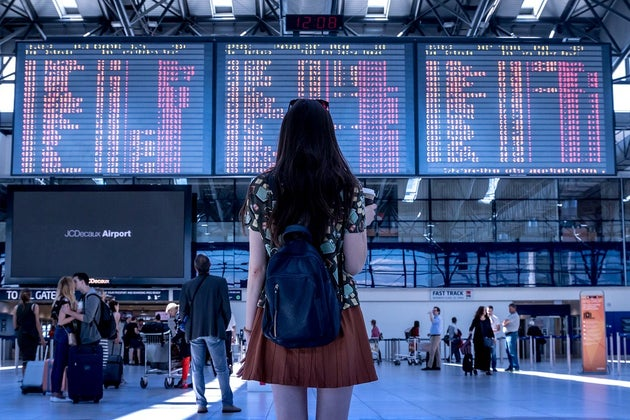 Woman standing in an airport